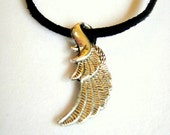 Feather, Wing Pendent And Black Suede Cord - Free Shipping