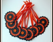 Orange and black tags - set of 8 (248)