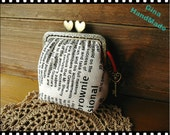 Vintage newspaper heart-bead metal frame purse / Coin Wallet / Pouch coin purse / Kiss lock frame purse bag-GinaHandmade