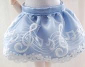 Blue Music Note Satin Skirt for MSD sized dolls