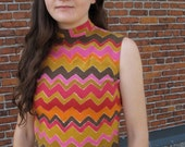 Zig zag Missoni-esque sleeveless shell top