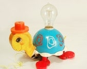 Unique Vintage FISHER PRICE Turtle Pull Toy Lamp