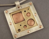 Sterling Silver, Brass and Copper Mixed Metal Mod Squares and Circles Pendant - lpjewelry