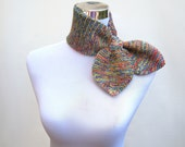 Bow scarf knitted ascot scarf retro 50s style scarflette neck warmer in beautiful rainbow colors