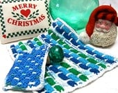 Dish or Wash cloth 'JOY' OOAK Washcloth hand knit for kitchen or bath with scrubbie in Lapis, Emerald, & Turquoise