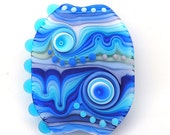 True Blue- handmade Lampwork glass bead focal(1)FREE WORLDWIDE SHIPPING