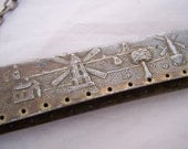 Ornate Antique purse frame double hinged  square split top  purse handle Windmill Countryside scene