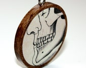 Skeleton Skull Necklace : Two Sides Mouth Hand Don't Bite the Hand that Feeds You 2 Sided Necklace - WoodenNickelsJewelry