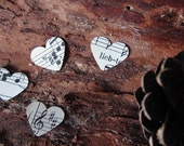 Tiny paper hearts - 1000 pieces made from vintage sheet music, farm wedding, eco wedding, rustic wedding, wedding decoration - size x-small