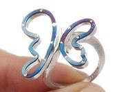 Butterfly silver titanium ring - Butterfly - blue matte silver women ring FREE SHIPPING