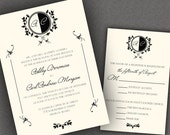 Black and White Wedding Invitations Suite with Monogram and Classic Border