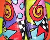 Hand painted leather Klog Shoe size 9