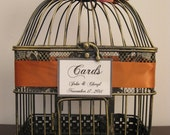 Bird Cage Wedding Card Holder With Burnt Orange Hydrangeas / Wedding Card Holder  Decorative Bird Cage / Shabby Chic Bird Cage