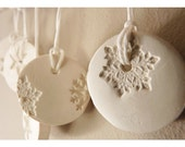 5 Porcelain winter white & pearl snowflake ornaments.