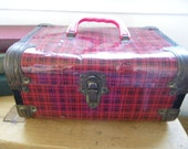 Vintage Plaid Tin Train Case or Doll Case