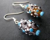 Fizzy Root Beer Lampwork Glass Beaded Earrings Dangle Jewellery