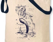 vintage design MERMAID cotton navy handle and print tote bag - ToTheMoonAndBack