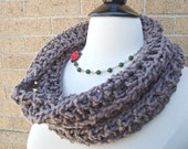 Cowl Neck Circle Scarf - Organic Brown Cotton