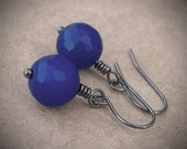NAVY BLUE EARRINGS Dark Blue Agate Gemstone Earrings with Antiqued Gunmetal Hooks - KachinaDesigns