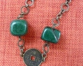 DEEP GREEN Necklace. Irregular shape green stone , metal coin and chain.