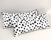 "Black and White Dalmatian Spots Pillow Set of Two 8"" x 18"""