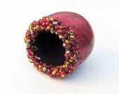 Gourd Beaded Mini Bowl Red with Red and Gold  Beads