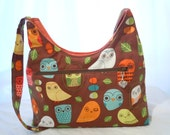 Owls Purse Mini Diaper Bag Brown Orange