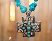 Cross Pendant with Semi Precious Turquoise Howlite Nugget Beads and Angel WIngs Charm
