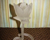 Candle Holder / Tulip / Frosted Glass / Vintage / Tea Light