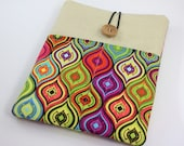 iPad Case, iPad Sleeve, iPad Cover, PADDED, with pockets for iPhone - Colorful Teardrop Patterns
