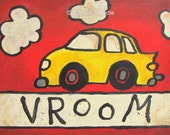 FUN CAR PRINT, Children, Art, Children Decor,  nursery decor, playroom, kids, wall art, vehicle, red, yellow