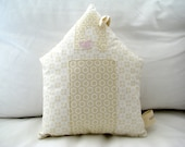 Nursery decorative pillow - Beige House pillow and fabric toy