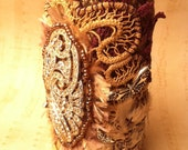 Antique Textile Artist Wrist Cuff  LOVE ETERNAL