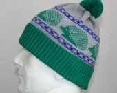 Machine knit Pompom Beanie Hat Green & Grey with Hedgehogs