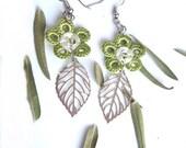 Crochet flower  Earrings filigre leaves ,lime green flower women dangle earrings - seragun