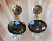 Smokey Gray Earrings, large gray gem stone with swarovski pearls, amber crystals, silver beads and ear wires