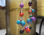 Blue Earrings - Purple Earrings - Black Earrings - Red Earrings - Silver Earrings - Handwrapped Earrings - Multi Colored Earrings
