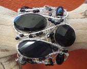 Black Cuff Bracelet sterling silver filled with obsidian gemstones and czech glass