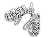 Sterling Silver Oxidized Mittens Charm Pendant