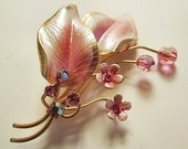 Vintage Made in Austria Pink Crystal Leaf and Flower Brooch Pin