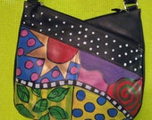 Hand painted leather purse adjustable shoulder strap ooak