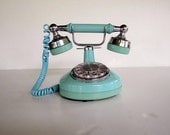 Vintage Blue Rotary Phone - French Style Princess Phone - Working Condition - Turquoise Aqua Blue - Cottage Chic Decor For Her
