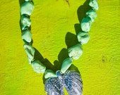 PALE GREEN ANGEL Semi Precious Howlite Chunky Stones Blinged Double Angel Wings