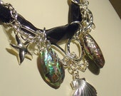 Silver Stars, Shells, Abalone and chains multistrand necklace