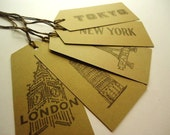 Brown Cardstock Places Tags - Set of 5