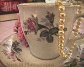 Alice in Wonderland teacup, tea party, shabby chic, pink, cream, original fine art photograph, 8x10 print, metallic finish