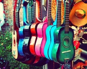 las guitarras. rainbow spanish guitars. music photo vibrant Los Angeles photograph. latin inspired, southwest decor, California art musical - MyanSoffia