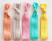 The Soft Package - 5 Elastic Solid Color Hair Ties that Double as Bracelets by Mane Message on Etsy