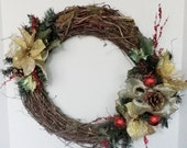Front door wreath, holiday decor, grapevine