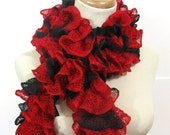 Red and Black Ruffled Scarf - Hand Knit